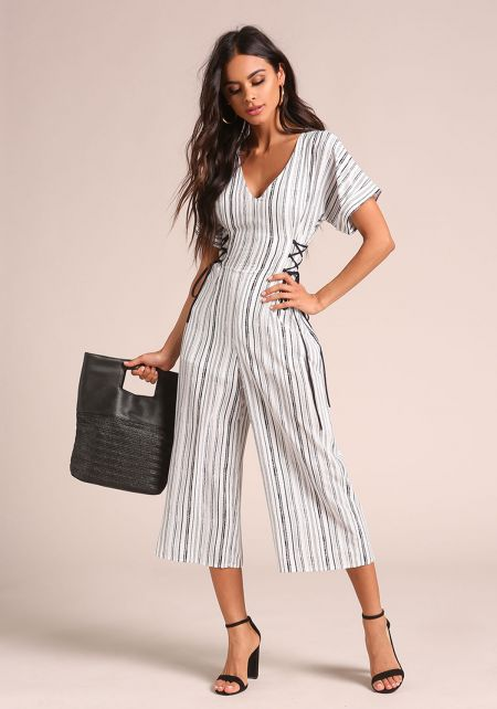 White Pinstripe Side Lace Up Cropped Jumpsuit