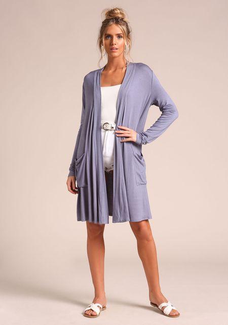 Light Blue Longlined Knit Cardigan