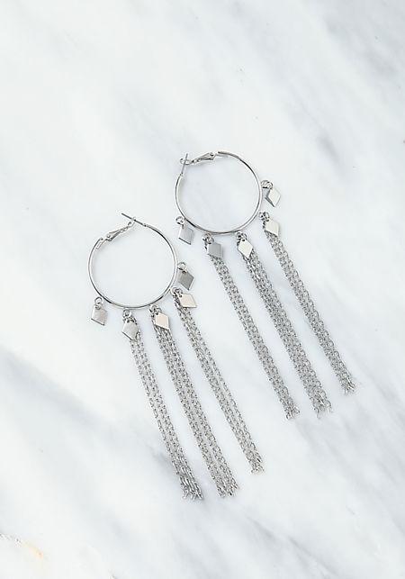Silver Chain Tassel Hoop Earrings