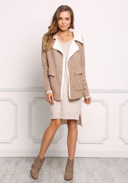 Camel Chunky Knit Faux Shearling Coat