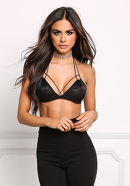 Black Lace Multi Cross Strap Bralette