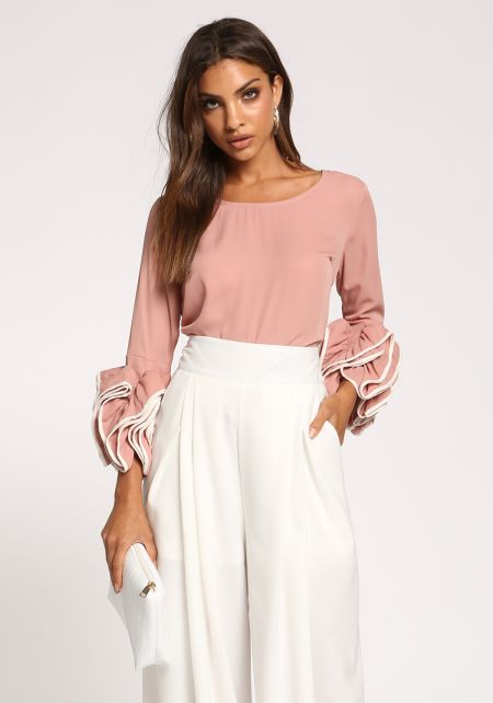 Blush Ruched Puff Sleeve Blouse