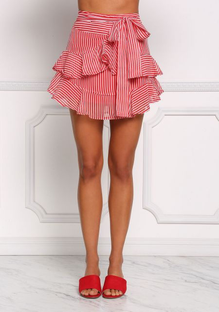 Red Stripe Ruffle Tier Flare Skirt