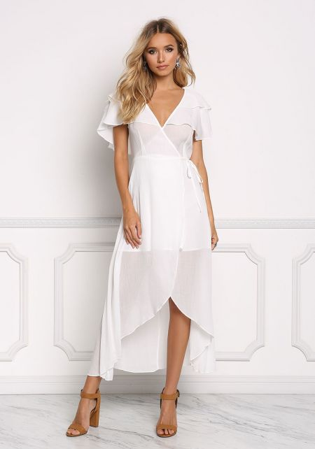 White Ruffle Layered Wrap Maxi Dress