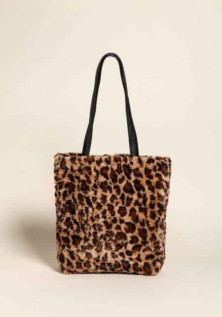 Leopard Large Faux Fur Tote Bag