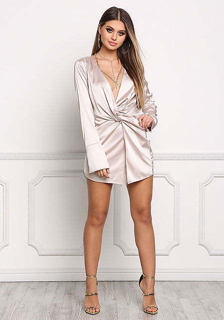 Champagne Silky Plunge Twisted Dress