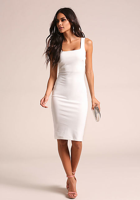 White Square Neck Bodycon Dress