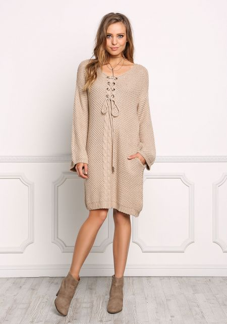 Taupe Thick Knit Lace Up Shift Dress