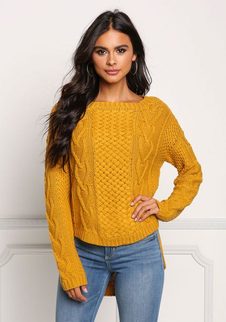 Mustard Cable Knit Hi-Lo Sweater