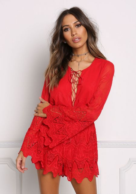 Red Eyelet Embroidered Lace Up Romper