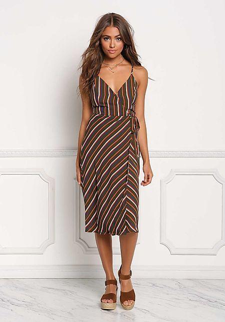 Olive Chiffon Stripe Wrap Dress