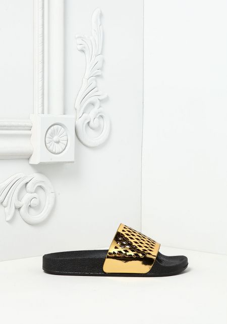 Gold Hologram Laser Cut Slide Sandals