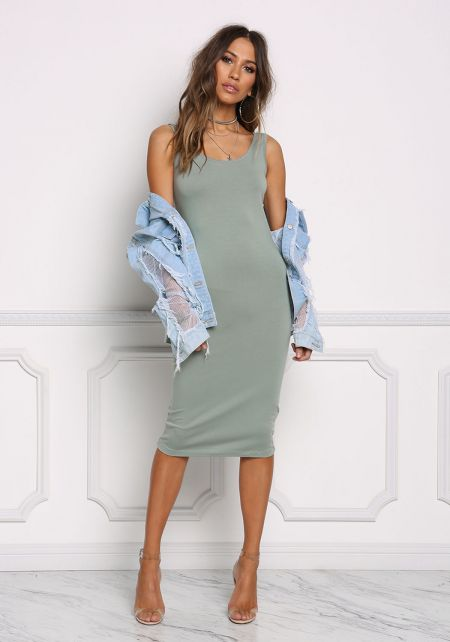Dark Sage Basic Jersey Knit Midi Dress