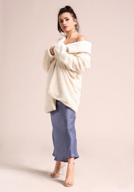 Cream Soft Faux Fur Lapel Coat