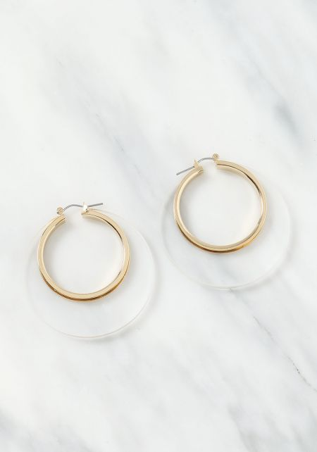 Clear and Gold Hoop Earrings