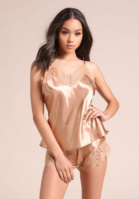 Nude Silky Lace Lingerie Set