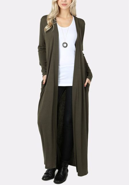 Olive Duster Longlined Cardigan