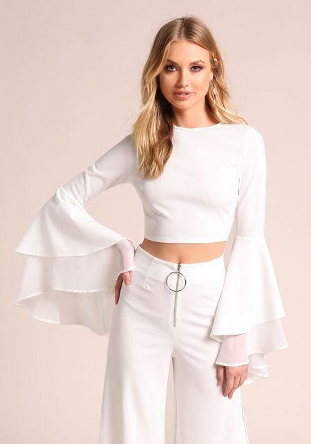 White Tiered Bell Sleeve Crop Top