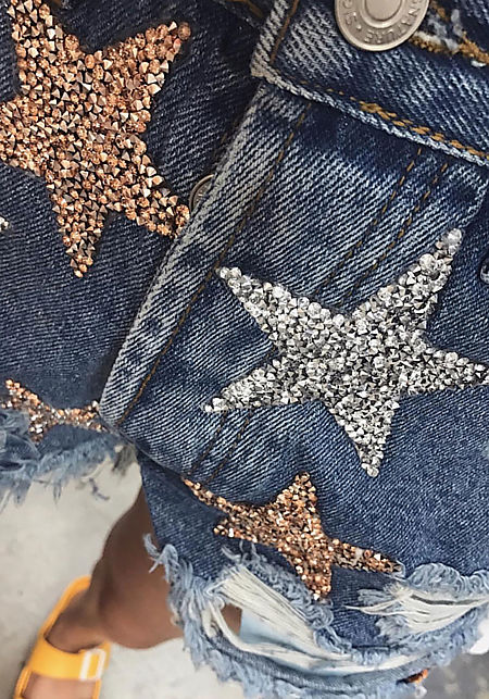 Denim Moon & Stars Sequin Distressed Shorts