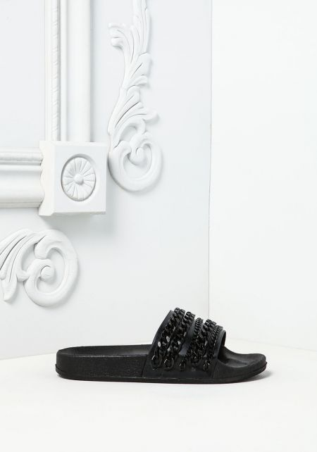 Cape Robbin Black Chain Slide Sandals