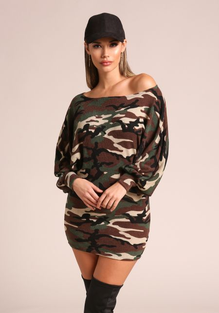 Camouflage Puff Sleeve Off Shoulder Dress