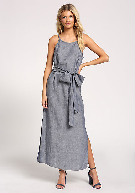 Denim Linen Slit Tie Front Maxi Dress ... 894cf4a91535