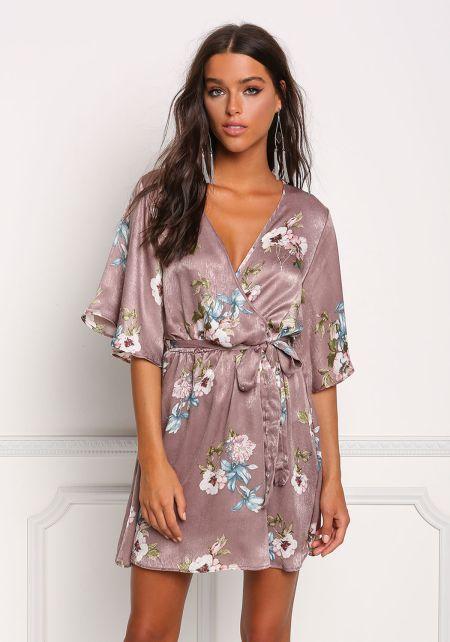 Mauve Silky Floral Kimono Shift Dress