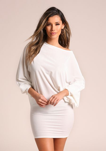 Ivory Velvet Dolman Bodycon Dress