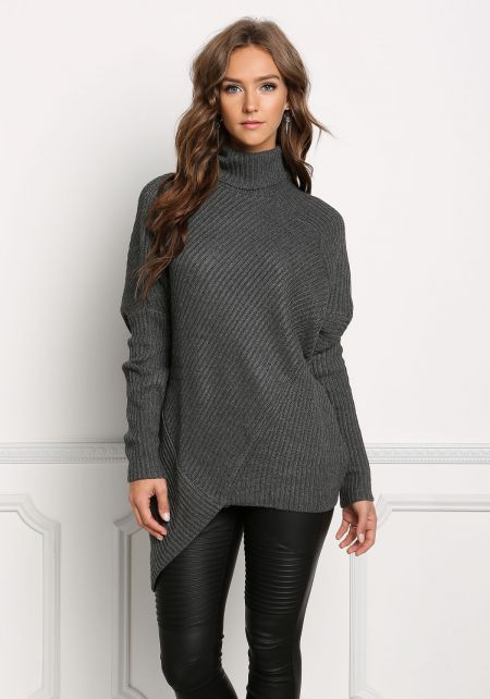 Charcoal Chunky Knit Asymmetrical Sweater Top