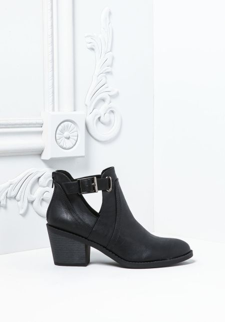 Black Leatherette Cut Out Buckle Strap Booties