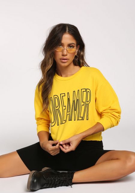 Yellow Dreamer Cropped Pullover Top