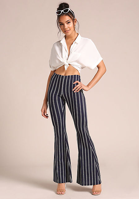 Navy Bell Bottom Pinstripe Pants
