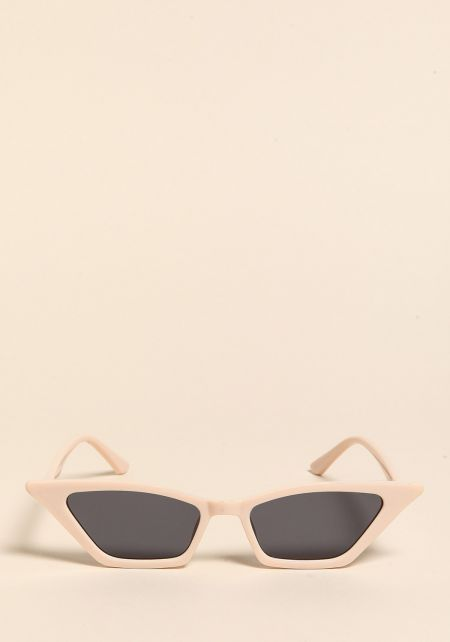 Beige Sharp Cat Eye Sunglasses