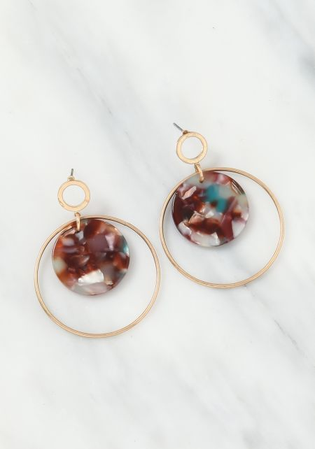 Multi Resin Hoop Drop Earrings