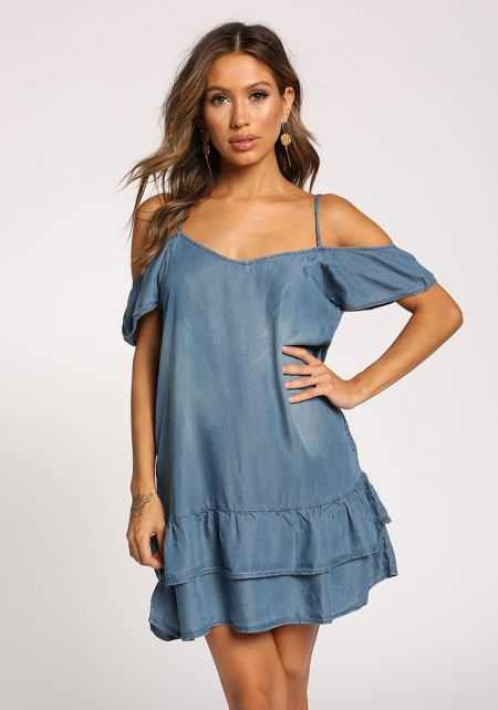 Medium Denim Cold Shoulder Ruffle Shift Dress