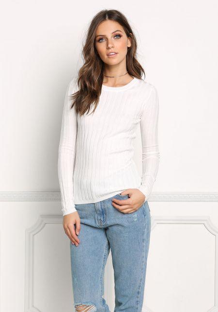 White Ribbed Knit Sleek Top