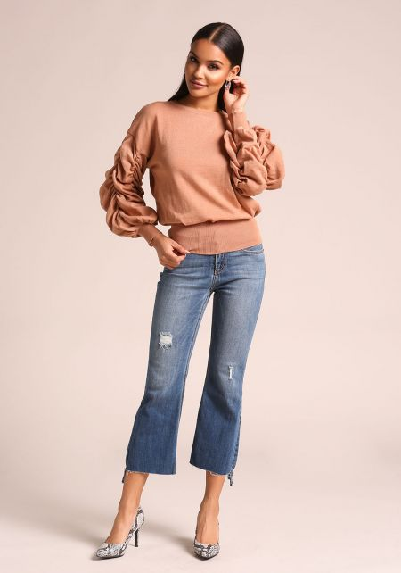 Mauve Ruched Puff Sleeve Knit Sweater Top
