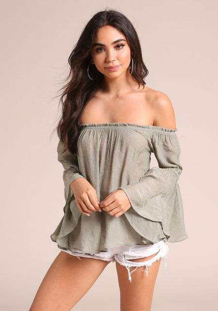 Sage Gauze Off Shoulder Bell Sleeve Blouse