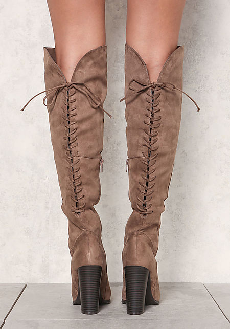 Taupe Suedette Lace Up Over The Knee Boots