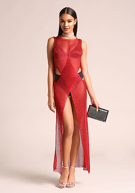 Red Metallic Knit High Slit Cross Over Maxi Top