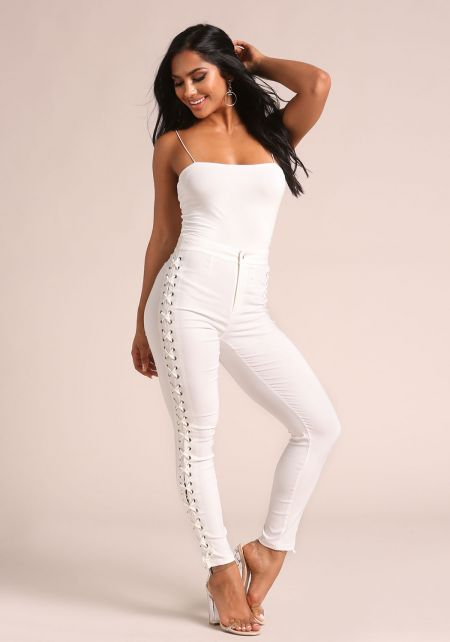 Off White Side Lace Up High Rise Pants