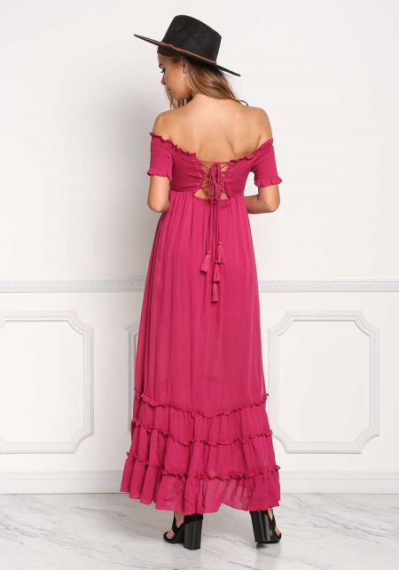 Magenta Off Shoulder Smocked Lace Up Maxi Dress
