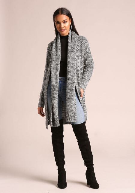 Charcoal Marled Thick Knit Scarf Cardigan