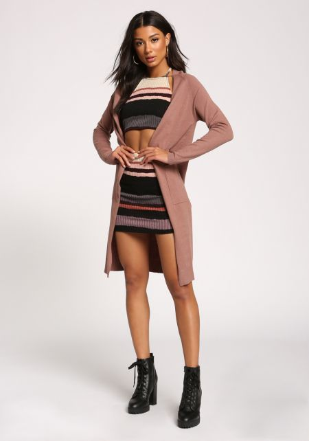 Mauve Side Slit Pocket Longlined Cardigan