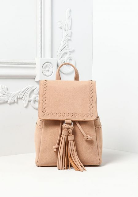 Beige Tassel Drawstring Backpack