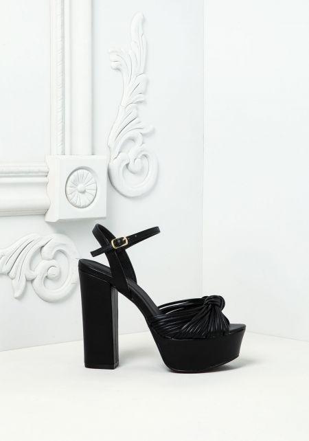 Black Leatherette Knotted Multi Strap Heels