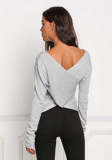 Grey Back Cross Over Ribbed Knit Top