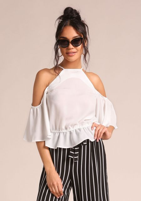 Off White Cold Shoulder Bell Sleeve Blouse