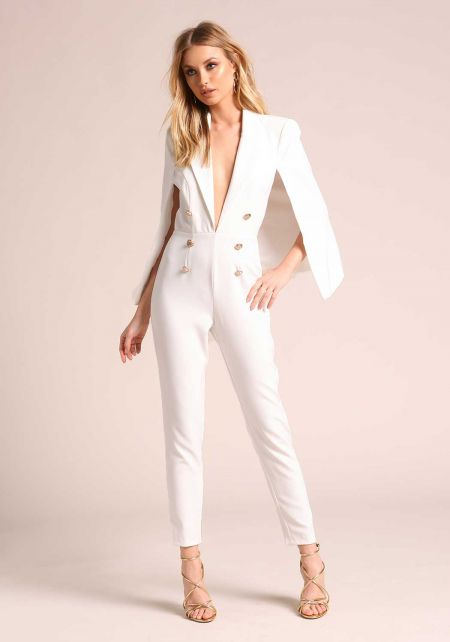 White Double Breasted Plunge Cape Jumpsuit