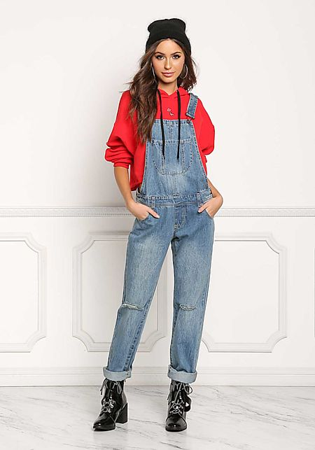 Denim Knee Slit Cross Strap Overalls